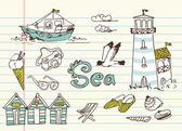 Summer Holidays Doodles — Stockvector