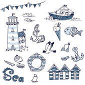 Sea doodles — Stock Vector