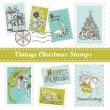 Vintage Christmas postage — Stock Vector #35500351