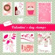 Valentine's day stamps — Stockvectorbeeld