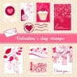 Valentine's day stamps — Stock vektor