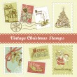 Vintage Christmas postage — Stock Vector
