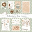 Valentine's day stamps — Vettoriale Stock