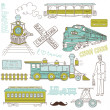 Trains vintage  Collection — Imagen vectorial