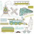 Trains vintage Collection — Stock Vector #35500439