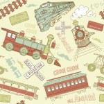 Vintage trains and railroad doodles — Vetor de Stock  #35500465