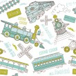 Vintage trains and railroad doodles — Imagen vectorial