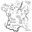 Stock Vector: Stylized map of France