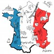 Stylized map of France — Stock Vector