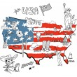 Mapa Ameriky — Stock vektor