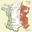 Stylized map of France. — Stock Vector