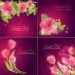 Romantic Flower Backgrounds — Stock Vector