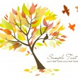 Beautiful Tree and birds — Imagen vectorial