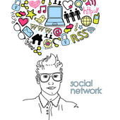 Social network doodles. — Stock Vector