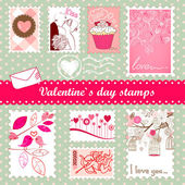 Valentine's day stamps — 图库矢量图片