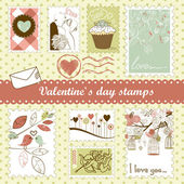 Valentine's day stamps — Vecteur