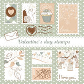 Valentine's day stamps — ストックベクタ