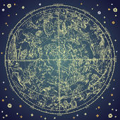 Vintage zodiac constellation of northen stars. — Vetor de Stock