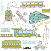Trains vintage Collection — Stock Vector