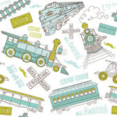 Vintage trains and railroad doodles — Stock Vector
