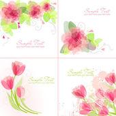 Romantic Flower Backgrounds — Stock Vector
