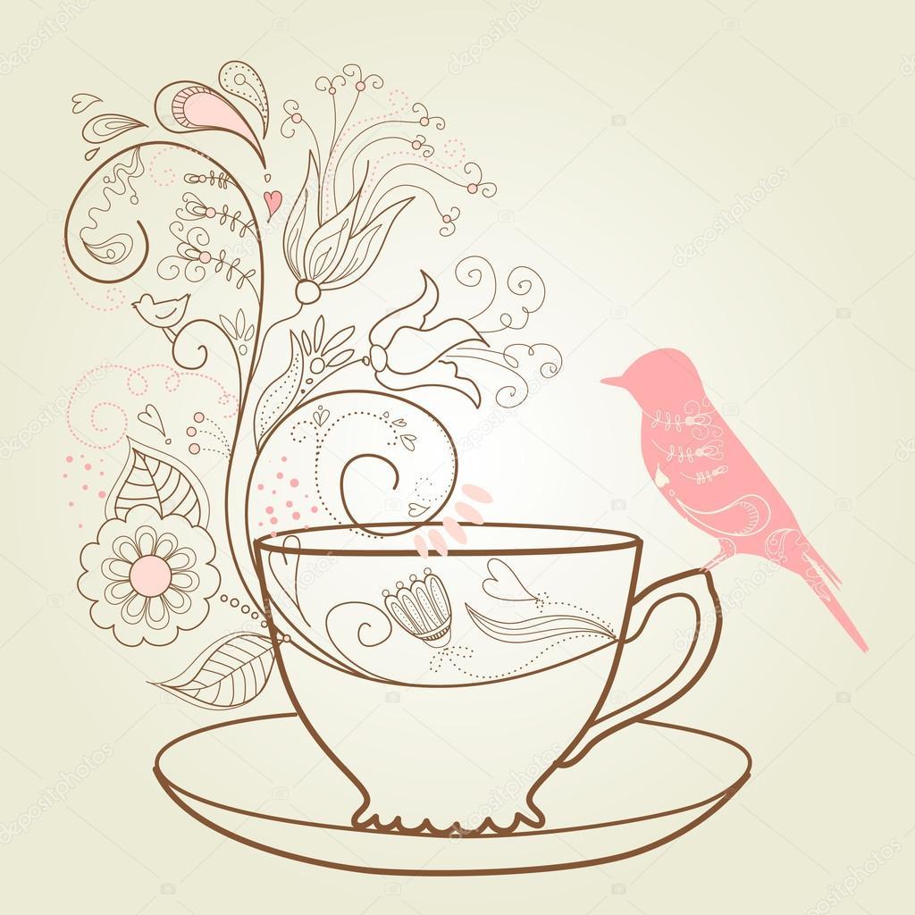 下午茶 - 图库插图