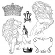 Lion and crown heraldry — Stok Vektör