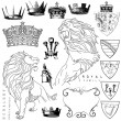 Vector de stock : Lion and crown heraldry