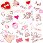 dia dos namorados doodles — Vetorial Stock