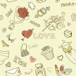 Vector de stock : Love Seamless Doodles
