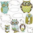 Stock Vector: Owls speach bubbles