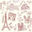 Love in paris doodles — Stock Vector