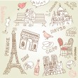 Love in paris doodles — Stock Vector #35927597