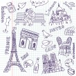 Love in paris doodles — Stock Vector #35927609