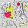 Shopping in Paris doodles — Vector de stock