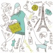 Shopping in Paris doodles — Imagen vectorial