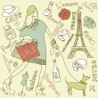 Shopping in Paris doodles — Stock Vector