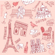 Stock Vector: Love in paris doodles
