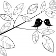 Stock Vector: Birds kissing on branch