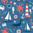 Stok Vektör: Sea seamless pattern