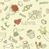 Love Seamless Doodles — Stockvector