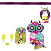 Different owls — Stock Vector