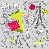 Compras em paris doodles — Vetorial Stock