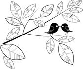 Birds kissing on a branch — Stock Vector