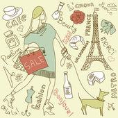 Shopping in Paris — Stock Vector
