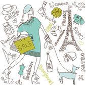 Shopping a Parigi — Vettoriale Stock