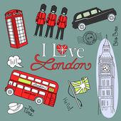 Londres doodles — Vecteur
