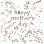 Mother's day card. Child's drawing — Stock Vector