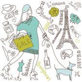 パリを愛します。 — ストックベクタ