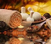 Spa massage setting at sunset — Stock Photo